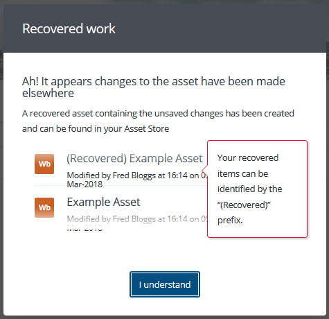 Recovered work modal